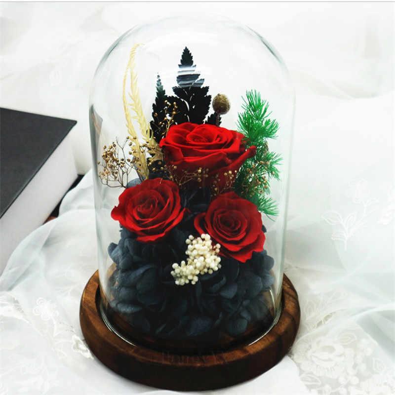 Handmade Tidak Pernah Layu Diawetkan Bunga Mawar Nyata Kaca Dome Hadiah Untuk Kekasih Hari Valentine Ulang Tahun Buatan Bunga Kering Aliexpress