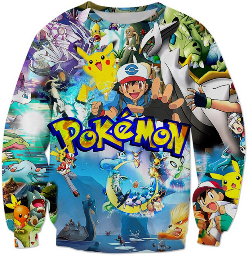 Fall/Winter Harajuku style pokemon sweatshirt Women Men anime print 3D hoodies cartoon high quality sweat shirt tops