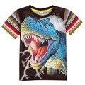 Meninos camiseta de manga curta mundo jurássico dinossauro tiranossauro rex nova meninos da marca camisa com mangas curtas sobre a cool boy crianças
