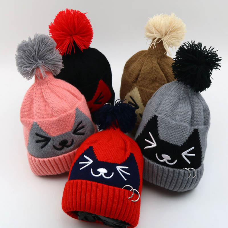 2017 Autumn Winter Beanies Baby Child knitted hat kids girls Cartoon cat iron ring knitting Earflap Caps Age for 2-6 years old