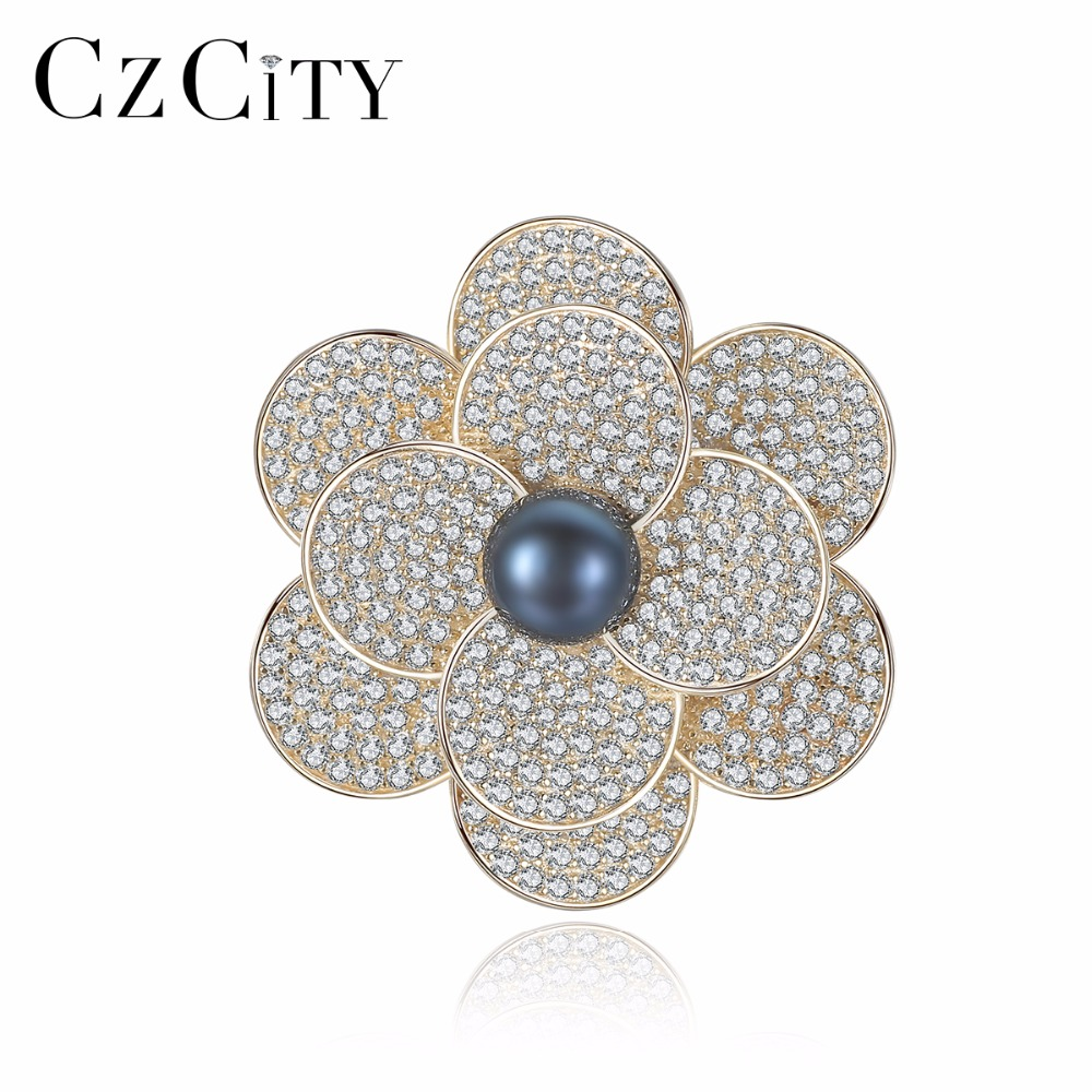 CZCITY Brooches Jewelry Flowers-Statement-Brooch-Pins Women for Fashion Bohemian Beautiful