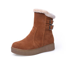 Winter Flock Women's Casual Platform Boots Brown/Black/Coffee Woman Fashion Mid-Calf Boot