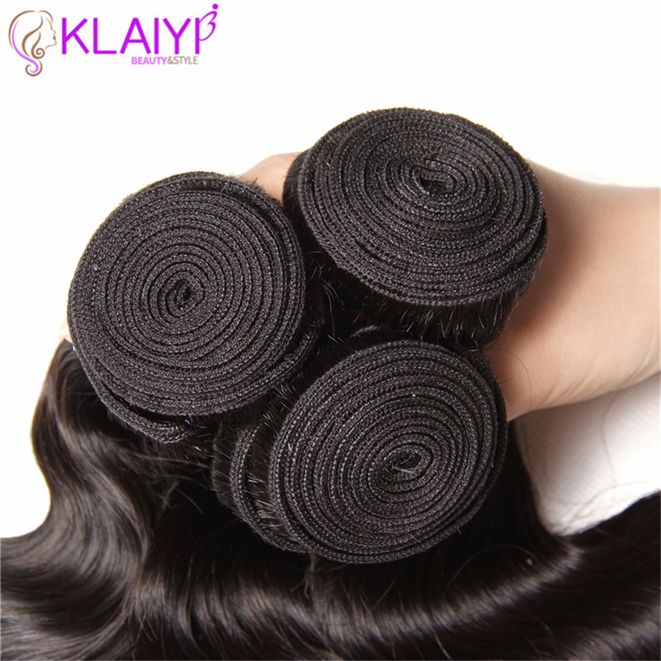 KLAIYI Hair 1 Bundle Brazilian Body Wave Human Hair Extensions 100% Remy Hair Weave Natural Color Can Be Dyed No Shedding