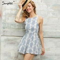 Simplee 2016 Summer style blue floral print women jumpsuit romper Sexy strap backless paysuit Casual bow beach overalls