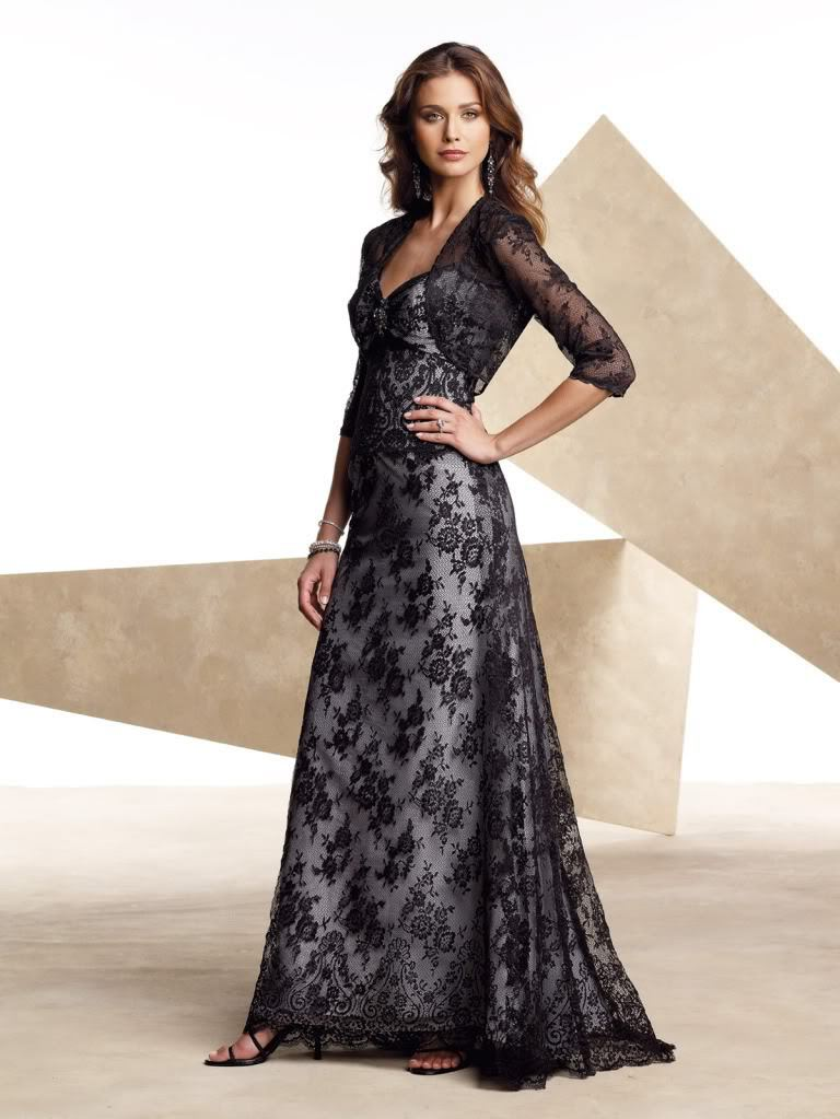Free Shipping Bridal Lace Bolero Jacket Brides Maid Unique Black Lace Formal Gown Good Evening Mother Of The Bride Dresses