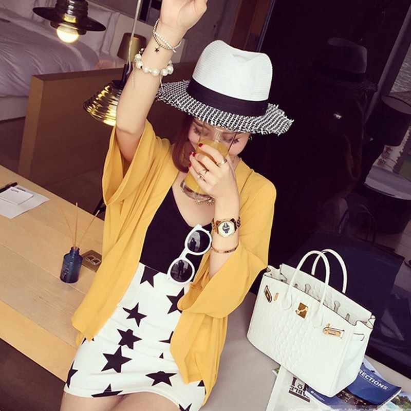 시폰 기모노 카디건 캐주얼 3/4 배트윙 슬리브 블랙 여성 블라우스 셔츠 여름 여성 탑 겉옷