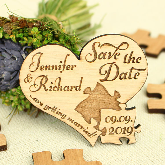 Personalized Puzzle Heart Bride Groom Name Wooden Wedding Save The