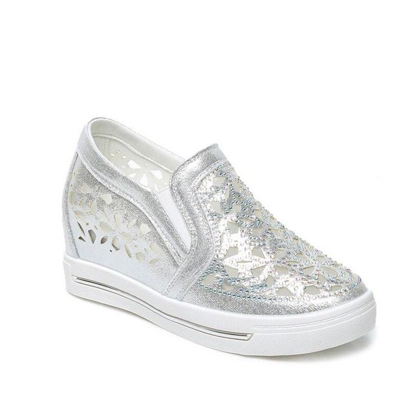 En Occasionnels Confortable Femmes Fahion Doux Aa50209 2017 blanc Cuir Plate Plat forme Chaussures Mocassins Argent Femelle Classique X0dqpn