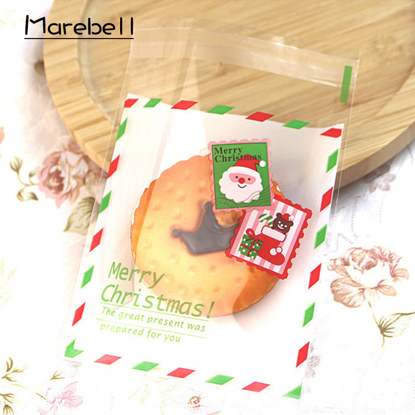 Marebell Christmas Cookies Packing Bags 10*10cm 50pcs Cartoon Santa Claus Christmas Party Biscuit Waffle Baking Packaging
