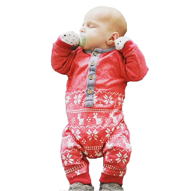 Winter Baby Boy Girl Romper 2017 Cartoon Reindeer Pattern Wool Girl Boy Clothes Romper Winter Christmas