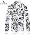 Shan bao marca clothing hombres cultivo de manga larga camisa blanca 2017 otoño de la manera impresión de algodón de alta calidad camisas casuales