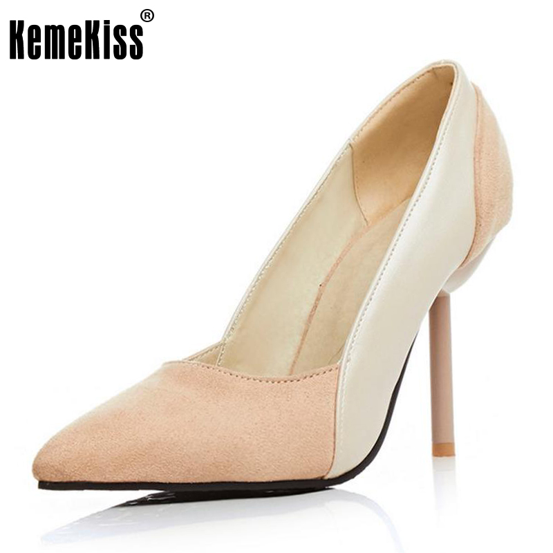 KemeKiss Lady High Heels Shoes Women Mixed Color Patchwork Pointed Toe Thin Heel Pumps Women Slip On Office Footwear Size 32-43 krazing pot shallow fashion brand shoes genuine leather slip on pointed toe preppy office lady thick high heels women pumps l18