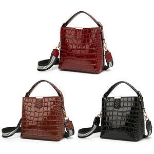 Image 4 - Diinovivo retro jacaré padrão balde bolsa feminina sacos de couro patente para as mulheres bolsa pequena bolsa de ombro carteira whdv1157