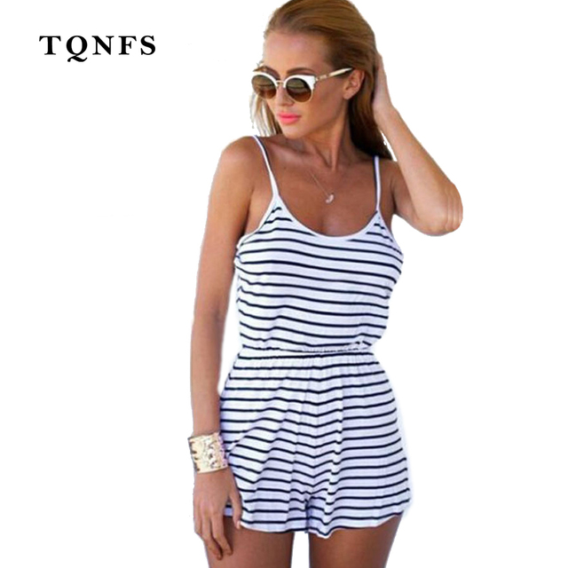 1986b0daef TQNFS Fashion Summer Women Casual Playsuits Sleeveless Sexy O Neck Striped  Rompers Short Pants Overalls for Women Playsuit