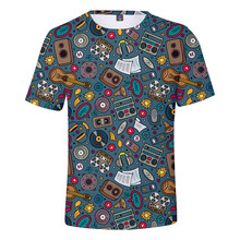 Mens and Womens Summer Short-sleeved Printed T-shirt Tapes with Musical Notes Tops