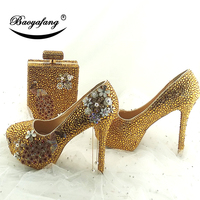 BaoYaFang Golden crystal Peacock Party Dress Shoes and bags Wedding shoes woman High heel platform shoes for woman Party Heels