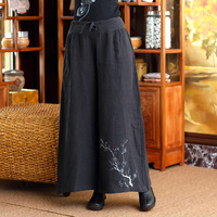 Black Hand painted Plum Retro Women Full Length Pant Chinese Novelty Trousers Loose Cotton Linen Wide Leg Pants
