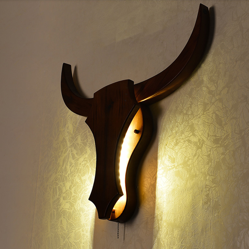 Loft Industrial Retro Natural Wood Cow Animal Style Wall Lamps E27 LED Sconce Wall Lights Modern For Living Room Bedroom Bar nordic loft creative loft milan industrial style modern bedroom study long arm living room villa copper bronze wall sconce lamp