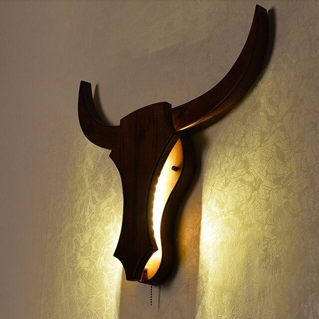 Loft Industriel Rétro Naturel Vache En Bois Animal Style Mur Lampes