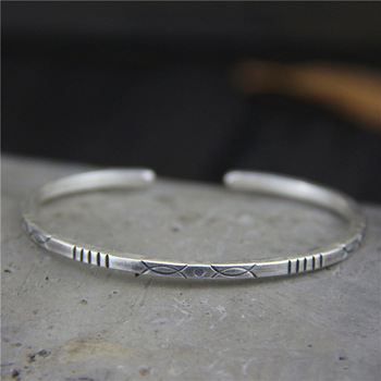 Thai manual S925 pure silver contracted fine silver bracelet Thai silver restoring ancient ways open female hand ring