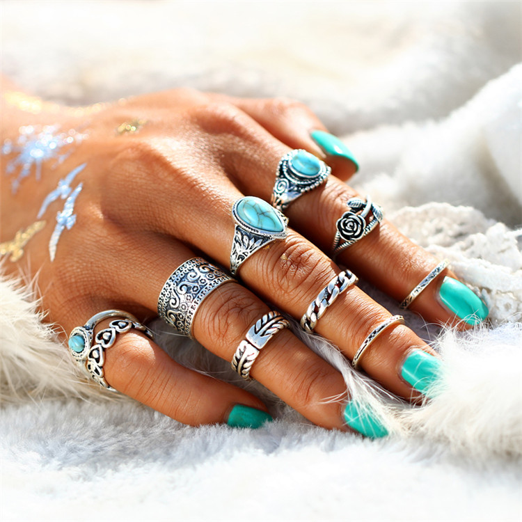 HTB1ariMRXXXXXXtXVXXq6xXFXXX8 10-Pieces Vintage Tibetan Turquoise Knuckle Ring Set For Women - 2 Colors