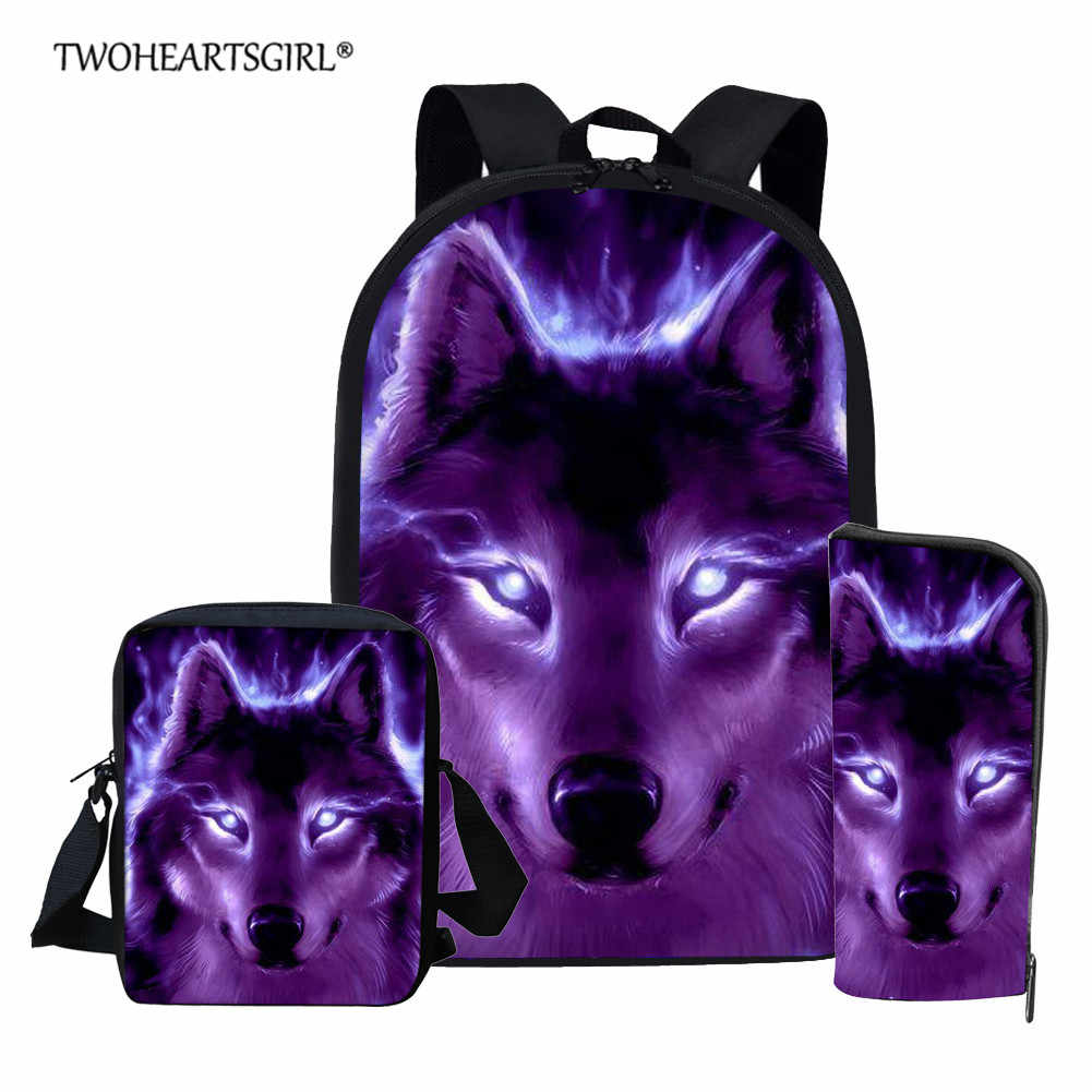 Twoheartsgirl Blue Wolf School Backpack for Teenage Boys Girls Children School Bag Set Student Book Bags Mochila Escolar