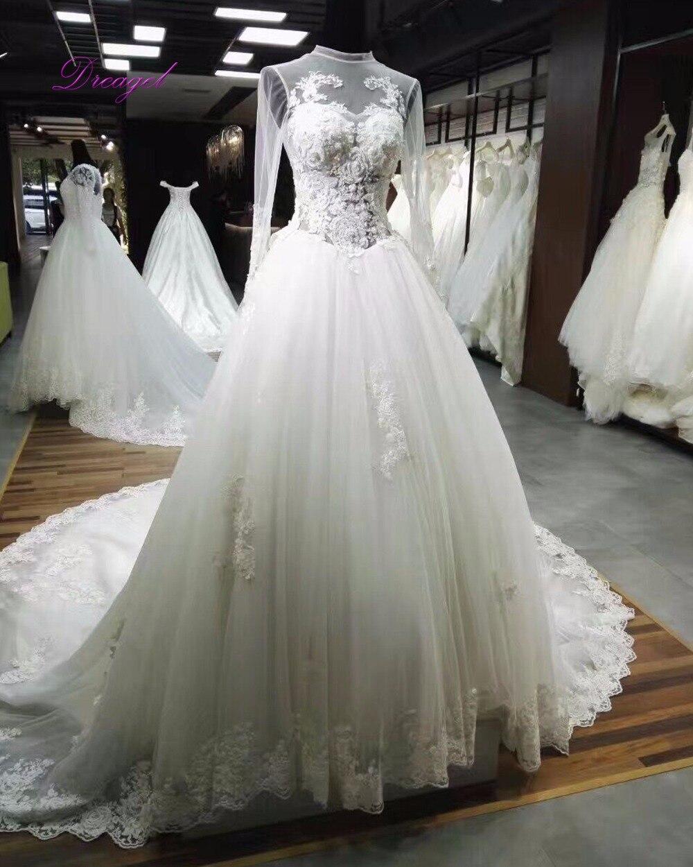 dreagel elegante de cuello alto vestido de boda de la vendimia la capilla de tren