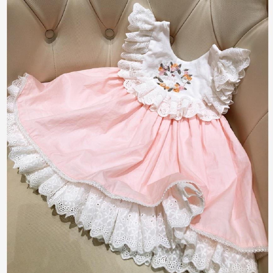 Baby girls dress 2019 summer toddler ruffles embroidery princess dress lace spliced cute dress party wedding gown vestidos Y1150
