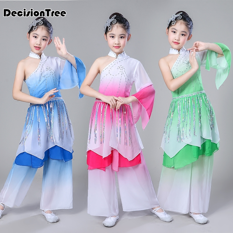 2019 new traditional chinese hanfu children dancing clothing red classic dress folk dance performance costumes for kids girls