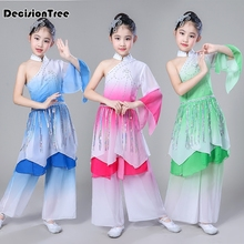 2019 new traditional chinese hanfu children dancing clothing red classic dress folk dance performance costumes for kids girls все цены