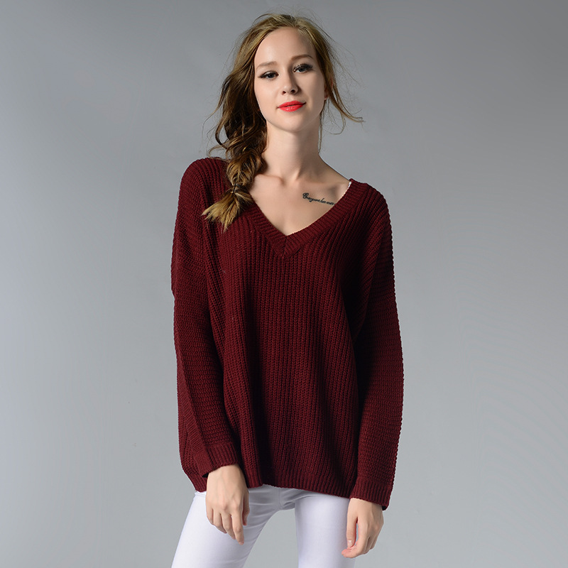 Fashion 2017 Winter Women Sexy Back Hollow Out Plus Size Knitted Sweater Pullovers Christmas V-Neck Sweater Pull Femme Hiver