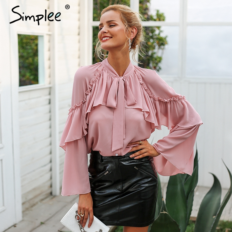 Simplee women long layered flare sleeve   blouse   Temperament lace up ladies chiffon   blouses   2018 Autumn winter ruffle   blouse     shirt
