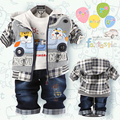 2016 spring  baby boys clothing set boy's cute denim clothing sets Children cartoon bear 3-pieces suit set jacket+t-shirt+pant