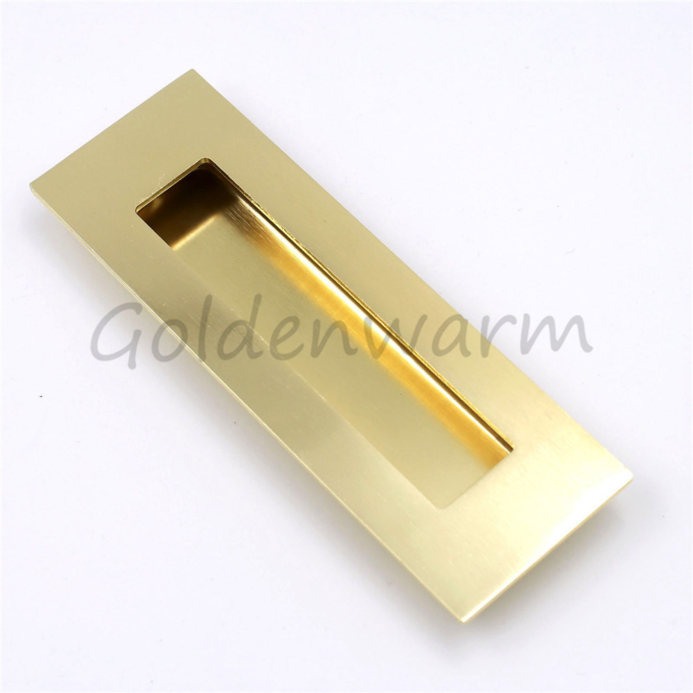 Recessed Handles Brushed Br Golden Rectangle Flush Pull Handle For Drawer Door Tatami 1pack 50pack In Cabinet Pulls From Home Improvement On