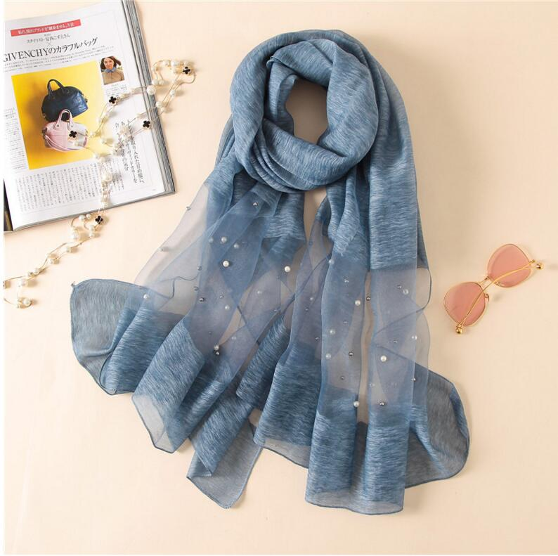 Europe fashion new scarf handmade bead pearl silk wool solid color scarves summer air conditioning shawl wrap