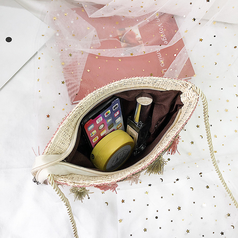 Tassel Women Single Shoulder Straw Small Bag Luxury Handbags Women Bags Designer Shoulder Bags Beach Ratten Totes Bolsa Female in Shoulder Bags from Luggage Bags