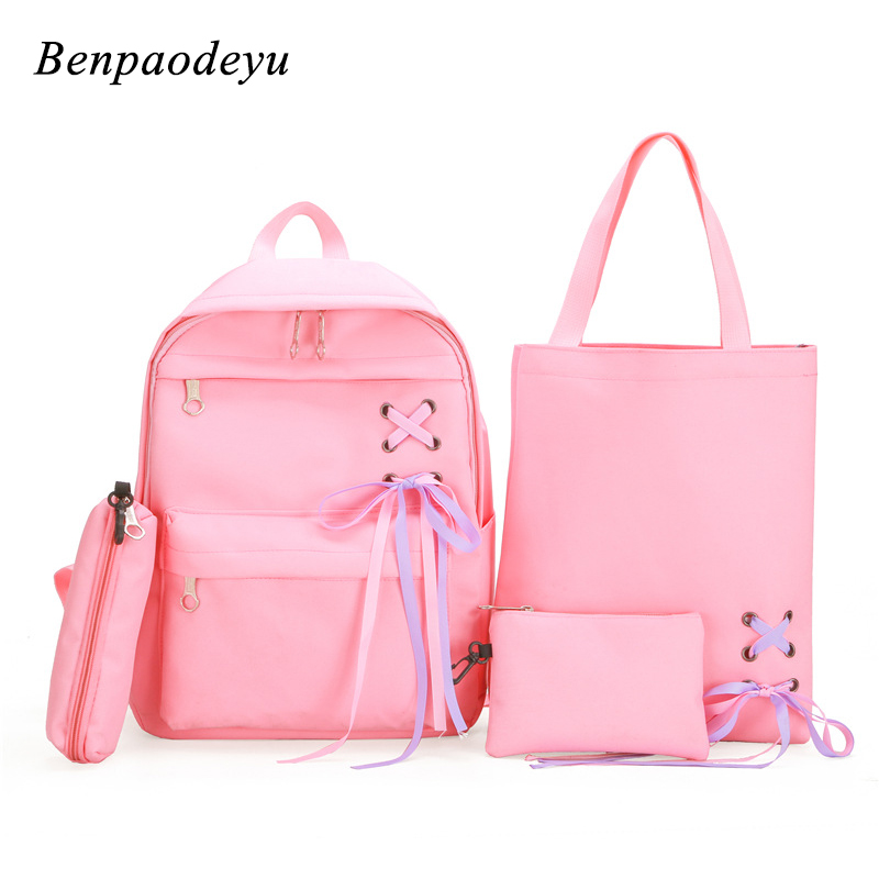 Fashion Backpack Women Leisure Backpack Girls School Bags Casual Canvas Student Backpack Teenage Girls Children Bags 4 Pcs/Set