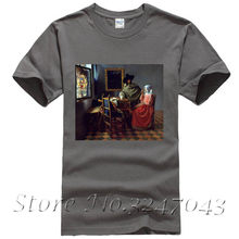 20e15766 A Lady Drinking and a Gentleman and The Glass of Wine T Shirt by Jan Vermeer  Men's T-shirt