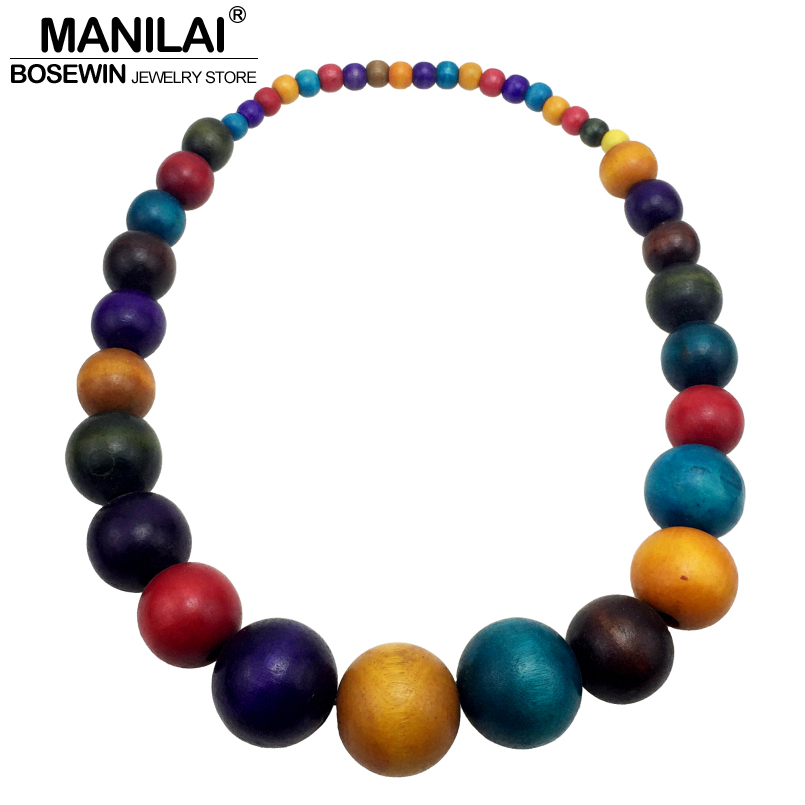 MANILAI New Fashion Bohemia Colorful Unique Wood Beads Exaggerated Necklace For Women Statement Necklace Jewelry Accessories unique geometric faux gem embellished floral pendants beads necklace for women