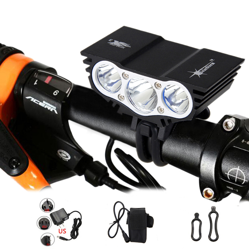Bright 6000 Lumen 3x  T6 LED Head Front Bicycle Bike HeadLight Lamp Light Headlamp 6400mAh Battery with Charger