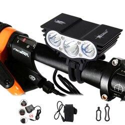 Jasne 6000 lumenów 3x T6 głowica LED rowerowa przednia reflektor rowerowy lampa lekka latarka czołowa 6400mAh akumulator z ładowarką