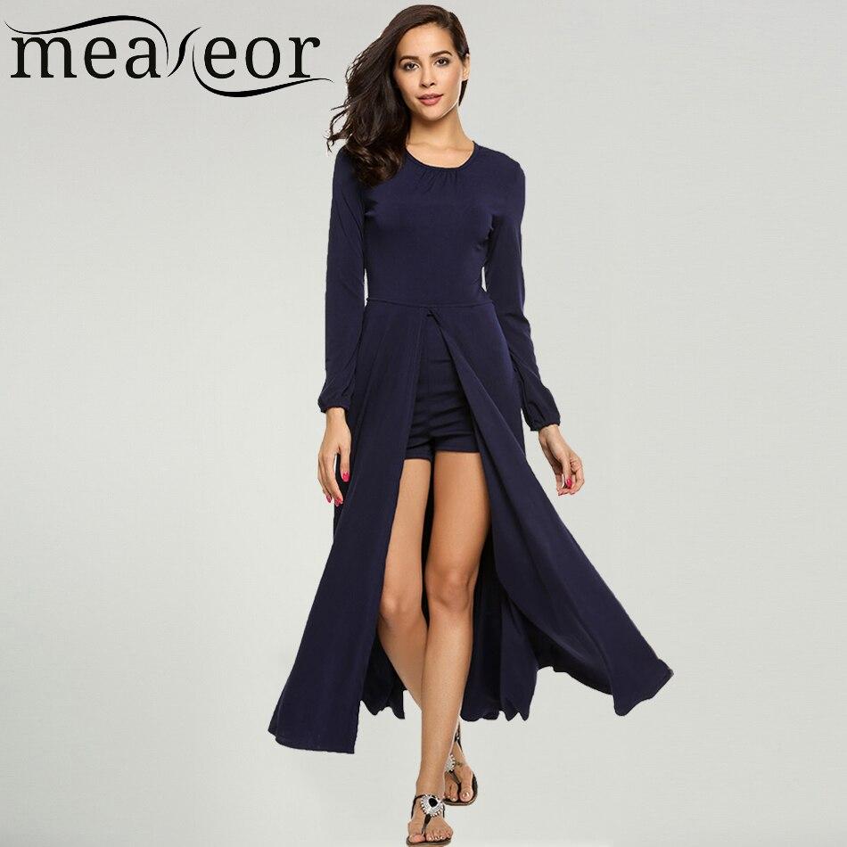 Meaneor femmes Sexy haute fente longue Maxi robe o-cou à manches longues doublure Shorts dos Zipper robes décontractées Feminino Vestidos