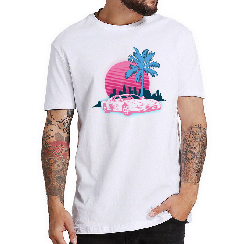 Miami Vice T-Shirts Men Hip Hop T Shirt High Quality Tops Creative T Shirt Vaporwave Aesthetic Clothes Harajuku