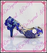 Aidocrystal 2015 new wedding shoes fashion crystal dress shoes round toe genuine leather 6cm heels shoes elegant Prom heels