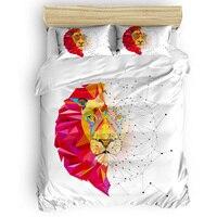 Geometric Block Lion National Flag Day Duvet Cover Sets California King Comforter Sets Mother's Day Living Room April Fools