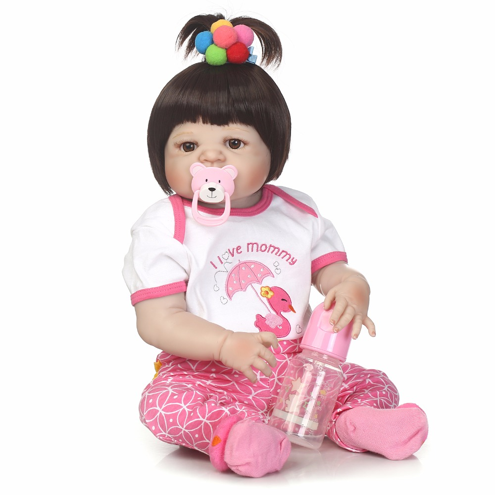 55cm Full Silicone Reborn Baby Doll Toys Lifelike Newborn Princess Toddler Girl Babies Doll Cute Birthday Gift Present Bathe Toy 55cm silicone reborn baby doll toy lifelike npkcollection baby reborn doll newborn boys babies doll high end gift for girl kid