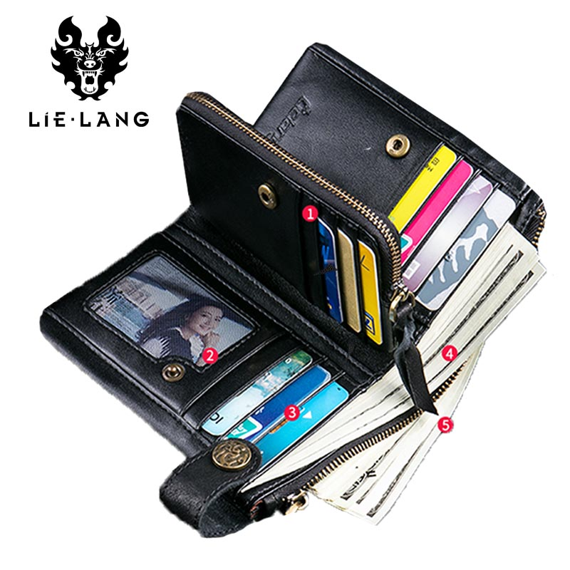 LIELANG Brand Genuine Leather Small Wallet Retro for Men Purse Portomonee Male Clutch Walet Black Leather Zipper Clamp For Money gzcz genuine leather men wallet fashion coin purse card holder small wallet men portomonee male clutch zipper clamp for money