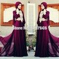 Nova Chegada 2017 Laço de Borgonha Caftan Hijab Underscarf Marroquino Kaftan Dubai Muçulmano Vestido de Noite Maxi Vestido de Manga Longa