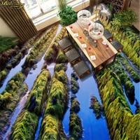 Beibehang Custom 3D Floor Painted Wallpaper To Paste The Beautiful Fairyland Green Stone 3D Living Room