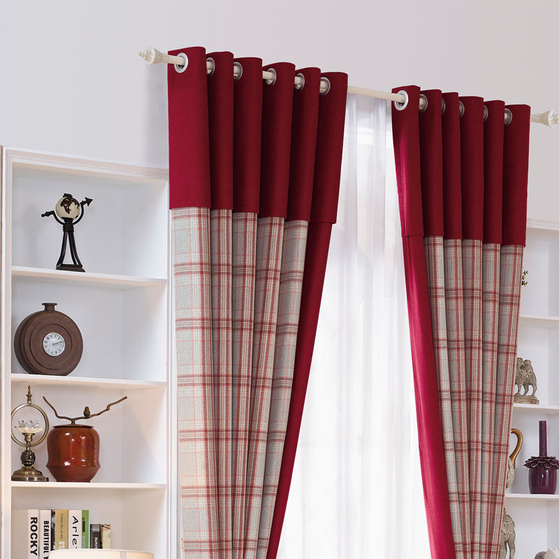Red Plaid Curtain For Bedroom Luxury Chenille Thick Window